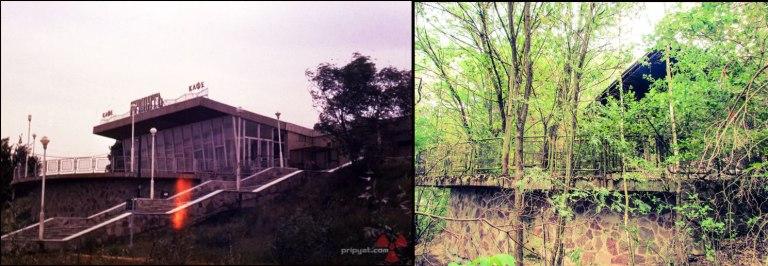 Bryggesiden av Cafe Pripyat med tre tiårs mellomrom.
