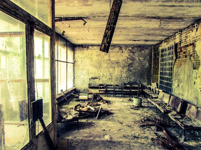 Resepsjonen på sykehuset  der den radioaktive biten av brannuniformen fortsatt ligger.